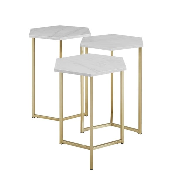 Offex Modern Hexagon Shaped Nesting Tables, Faux White Marble and Gold - Set of 3