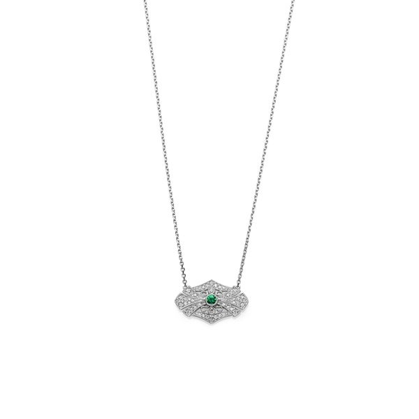 d1bedd51051db9 Shop Woman 14K White Gold Vintage Inspired Milgrain Emerald and Diamond  Necklace by Lucia Costin - Free Shipping Today - Overstock - 25670058