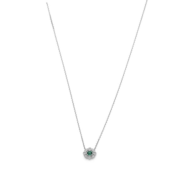 95a3533a1e0705 Shop Woman 14K White Gold Vintage Inspired Milgrain Emerald and Diamond  Necklace by Lucia Costin - Free Shipping Today - Overstock - 25670074