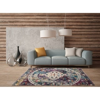 LR Home Gypsy Galaxy Grey/ Lilac Polypropylene Rug