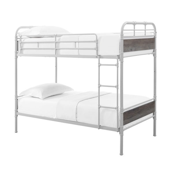 Offex Kids Twin over Twin Metal Pipe Wood Bunk Bed - White and Grey Wash