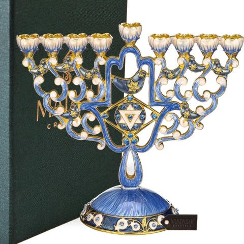 Hand Painted Enamel Menorah Candelabra with Hamsa & Doves Design by Matashi