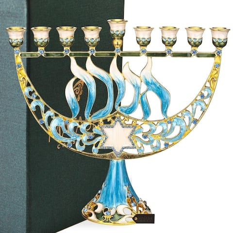 Hand Painted Enamel Menorah Candelabra with a Star of David by Matashi