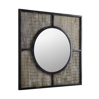 "Offex 32"" Rustic Modern Farmhouse Metal and Wood Square Wall Mirror - Brown"