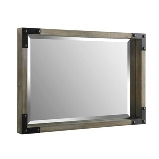 "Offex 36"" Rectangle Rustic Wood Wall Mirror with Metal Corner Brackets - Natural Wash"