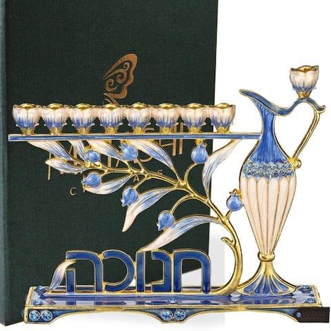 Matashi Hand Painted Blue Enamel Menorah Candelabra with Hebrew Hanukkah Design
