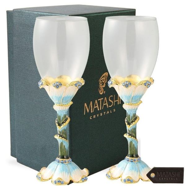 Long Stem Wine Glass with Hand Painted Stemware (Pewter) Petal Base by Matashi. Opens flyout.