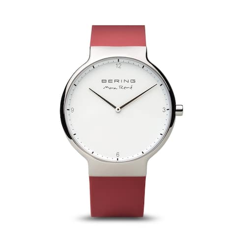 BERING Max René Slim Watch With Sapphire Crystal & Red Silicone Strap