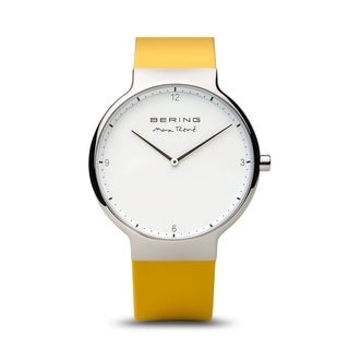BERING Max René Slim Watch With Sapphire Crystal & Yellow Silicone Strap
