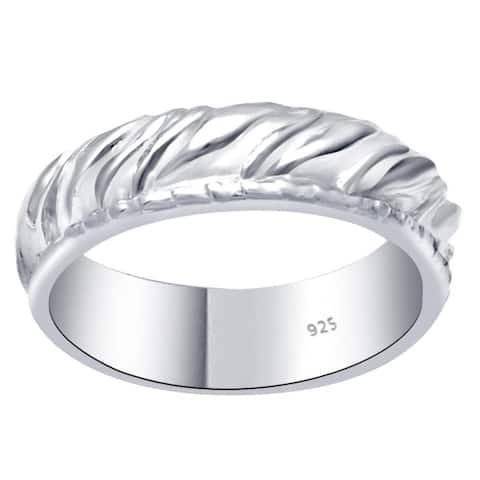 Solid Plain Sterling Silver Beautiful Eternity Engagement Band Ring By Orchid Jewelry