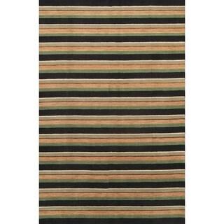 "Gabbeh Oriental Modern Stripe Area Rug Handmade Wool - 9'11"" x 6'6"""