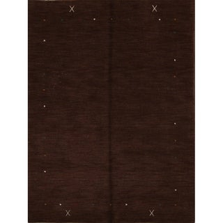 "Gabbeh Traditional Oriental Hand Knotted Solid Area Rug Brown - 7'0"" x 5'4"""