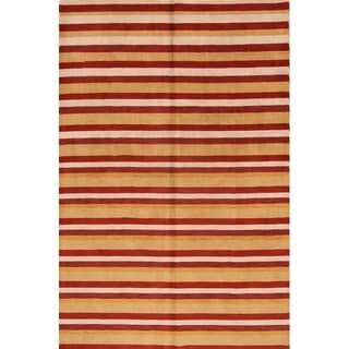 "Modern Gabbeh Oriental Hand Made Wool Stripe Area Rug - 9'8"" x 6'6"""