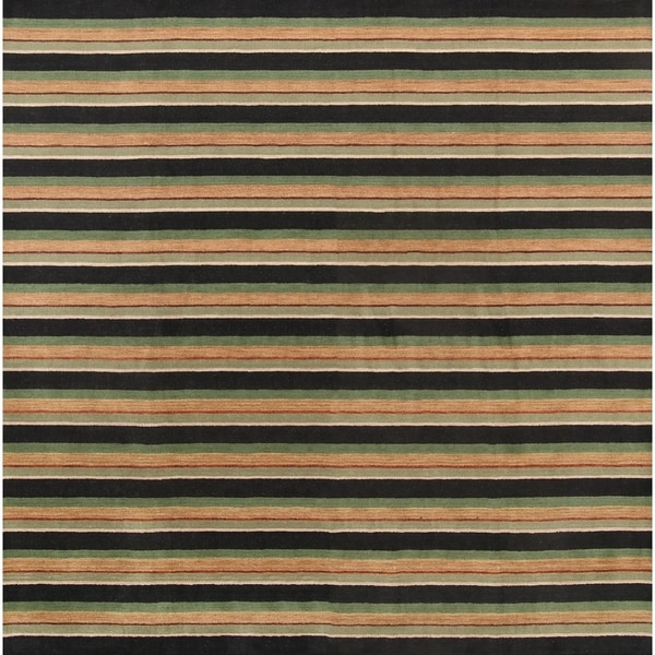 "Modern Gabbeh Indina Oriental Stripe Area Rug Hand Knotted Wool - 9'10"" square"