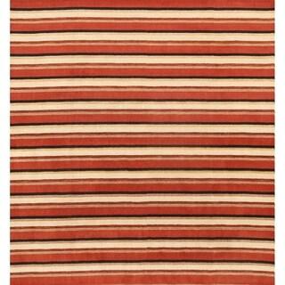 "Modern Gabbeh Oriental Stripe Area Rug Handmade Wool - 9'10"" x 9'2"" square"