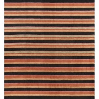 "Gabbeh Indian Oriental Handmade Wool Stripe Area Rug - 9'11"" x 9'2"" square"