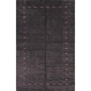 "Solid Area Rug Indian Gabbeh Oriental Handmade Wool - 9'11"" x 6'5"""