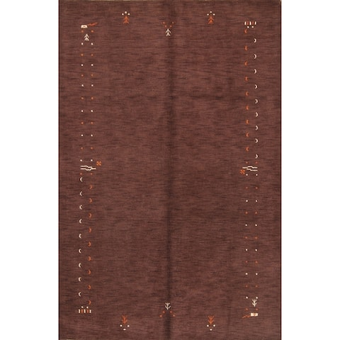 "Classical Abstract Modern Gabbeh Indian Oriental Handmade Area Rug - 10'0"" x 7'0"""