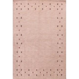 "Gabbeh Traditional Oriental Area Rug Handmade Beige Tribal Carpet - 5'6"" x 8'2"""