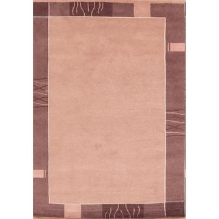 "Tibetan Modern Nepal Indian Handmade Oriental Area Rug - 8'0"" x 5'6"""