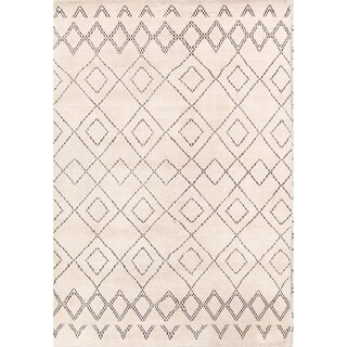 """Oriental Modern Moroccan Indian Hand Knotted Oriental Area Rug - 7'9"""" x 5'5"""""""