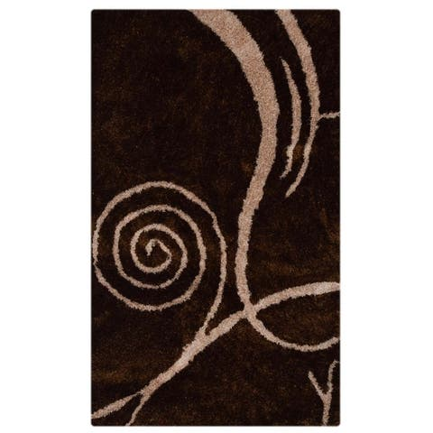 """Classical Indian Hand Made Shaggy Oriental Area Rug Brown - 5'0"""" x 8'0"""""""