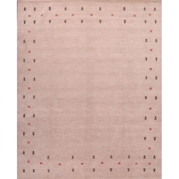 "Gabbeh Indian Oriental Handmade Wool Area Rug Contemporary - 8'2"" x 11'1"""