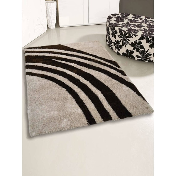 """Contemporary Abstract Soft Shaggy Oriental Hand Knotted Area Rug - 5'0"""" x 8'0"""""""