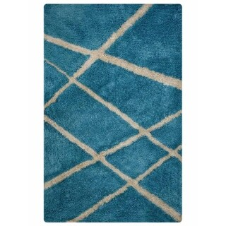"Shaggy Classical Hand Made Area Rug Eastern Blue Contemporary - 5'0"" x 8'0"""