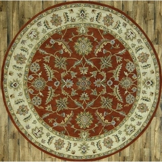 "Oushak Agra Oriental Handmade Wool Floral Area Rug - 9'8"" round"