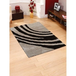 """Contemporary Abstract Soft Shaggy Hand Tufted Oriental Area Rug Brown - 5'0"""" x 8'0"""""""