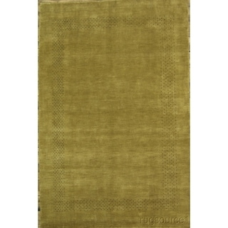 "Hand Knotted Wool Modern Gabbeh Indian Oriental Solid Area Rug - 9'11"" x 6'8"""