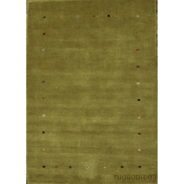 """Gabbeh Hand Knotted Oriental Solid Area Rug Yellow - 5'11"""" x 4'2"""""""