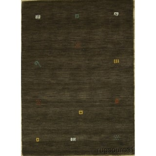 """Hand Knotted Gabbeh Tradtional Oriental Solid Area Rug - 5'8"""" x 4'1"""""""