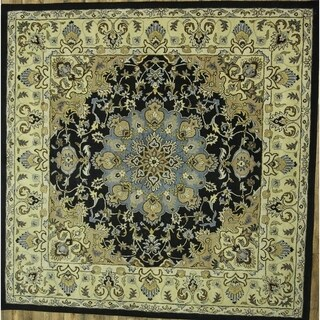 """Black Floral Hand Made Oushak Agra Oriental Area Rug - 9'10"""" square"""