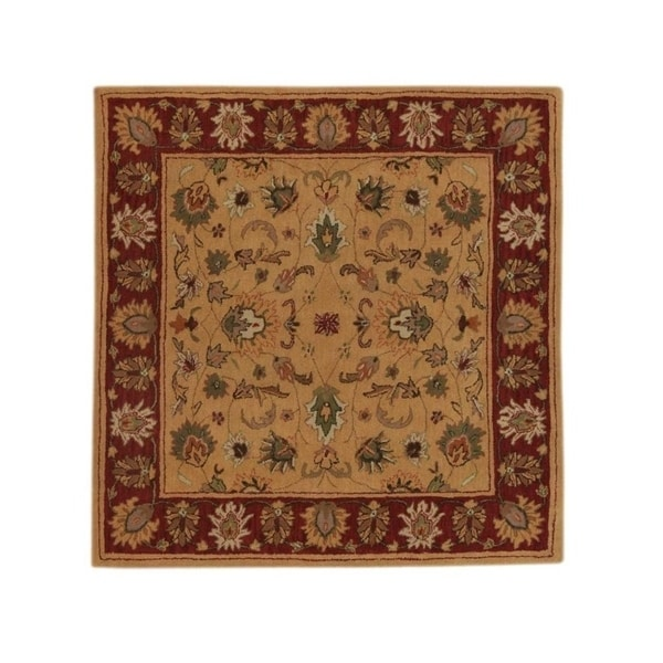 "Copper Grove Silikou Floral Square Oushak Classical Hand Tufted Indian Oriental Area Rug - 9'10"" square"