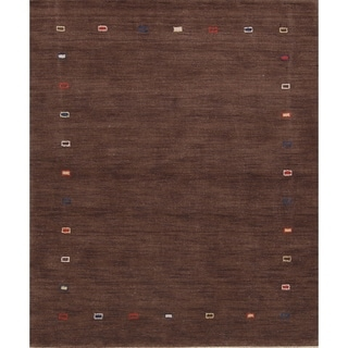 "Gabbeh Traditional Oriental Hand Made Solid Area Rug Brown - 6'4"" x 4'8"""