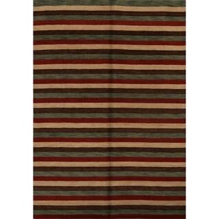 "Porch & Den Ryan Hand-knotted Striped Wool Gabbeh Oriental Area Rug - 8'0"" x 6'0"""