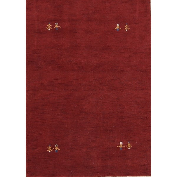 "Gabbeh Indian Oriental Hand Made Wool Solid Area Rug Red - 6'4"" x 4'8"""