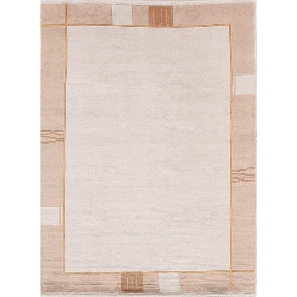 "Porch & Den Scrutton Ivory Hand-made Contemporary Oriental Area Rug - 7'10"" x 5'10"""