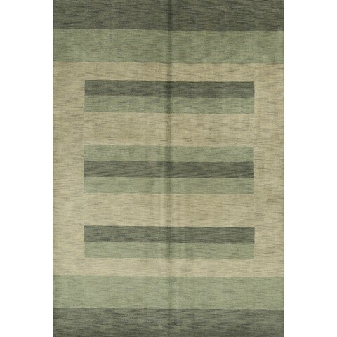 Strick & Bolton Corbin Green Hand-knotted Wool Area Rug - 6'7 x 9'8