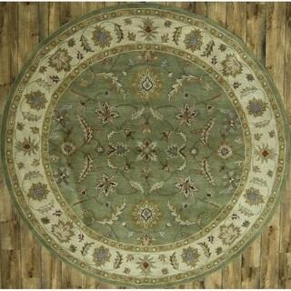 "Gracewood Hollow Frenn Tufted Blend Oriental Oriental Handmade Rug - 9'9"" Round"