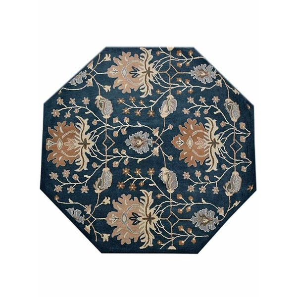 Shop Oushak Floral Tufted Wool Persian Oriental Area Rug: Shop Traditional Octagon Oushak Hand Tufted Wool Oriental
