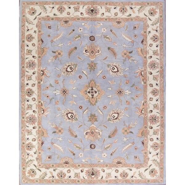 Shop Oushak Floral Tufted Wool Persian Oriental Area Rug: Shop Hand-Tufted Floral Light Blue Oushak Agra Oriental