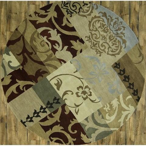 Gracewood Hollow Makdisi Tufted Blend Patchwork Oushak Patchwork Design Rug - 9'9 Round