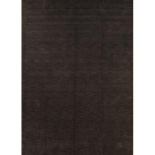 Porch & Den Brandyshire Charcoal Solid Color Handmade Oriental Area Rug - 11' x 8'