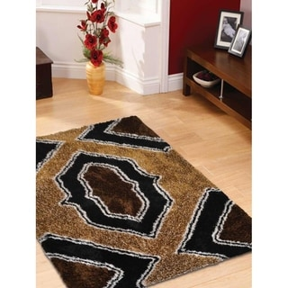 "Hand Tufted Wool Shaggy Indian Traditional Oriental Area Rug - 5'0"" x 8'0"""