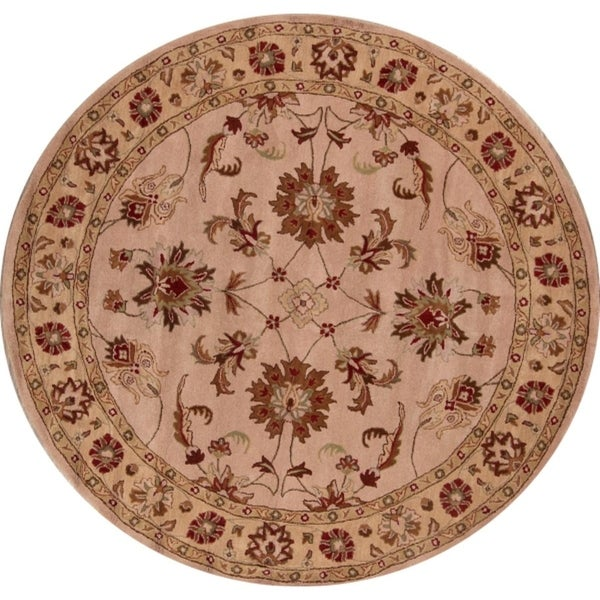 """Copper Grove Hillerod Hand-tufted Classical Indian Oriental Area Rug Floral - 9'9"""" x 9'10"""" round"""