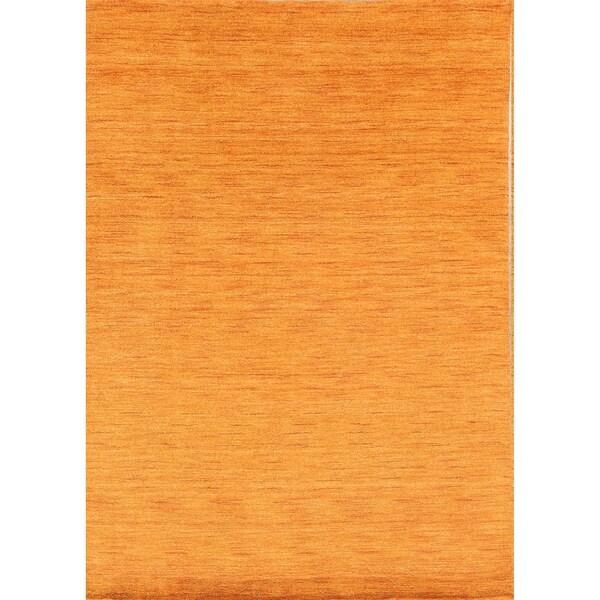 """Porch & Den Brandyshire Orange Solid Color Handmade Oriental Area Rug - 7'6"""" x 5'1"""""""