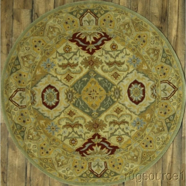 "Gracewood Hollow Isahakyan Knotted Blend Oushak Woolen Floral Oushak Indian Rug - 6'6"" round"